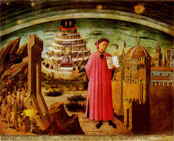 Dante shown holding a copy of The Divine Comedy